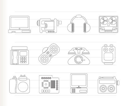 electronics, media and technical equipment icons - vector icon set Vector