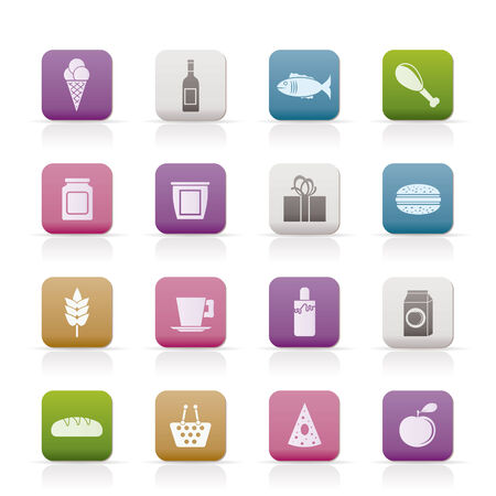 shop, food and drink icons - vector icon set Stock Vector - 8498949
