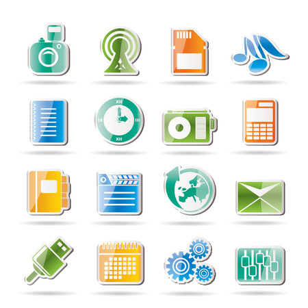 polyphony: Mobile Phone Performance, Business and Office Icons - Vector Icon Set Illustration