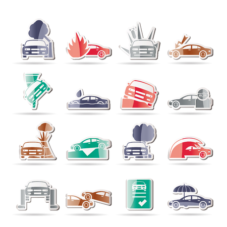 car and transportation insurance and risk icons - vector icon set Stock Vector - 8498977