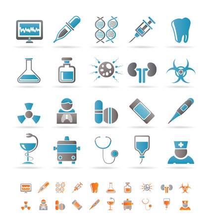 Healthcare, Medicine and hospital icons - vector icon set Vector