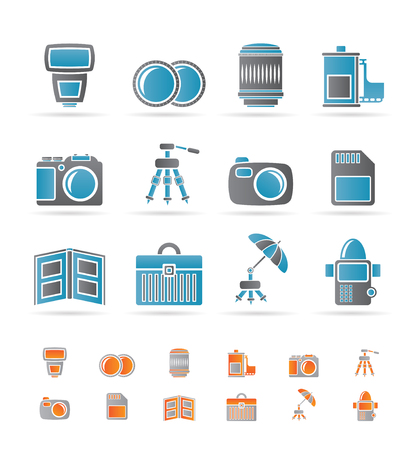 photography icons: Photography equipment icons - vector icon set