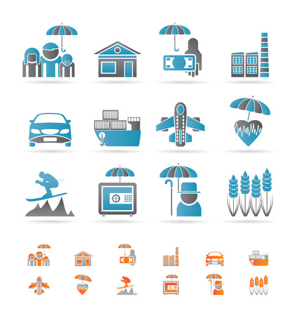 travel industry: different kind of insurance and risk icons