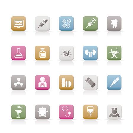 gene: Gezondheidszorg, geneeskunde en zieken huis pictogrammen  Stock Illustratie