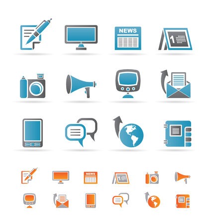 channels: Communication channels and Social Media icons  Illustration