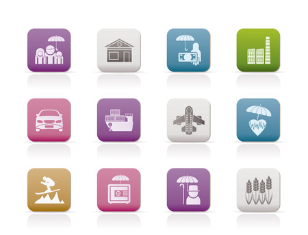 different kind of insurance and risk icons  Vector