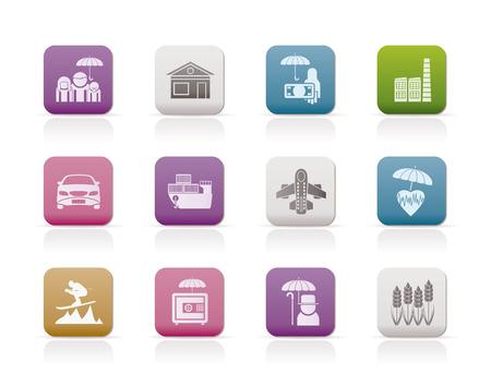 unterschiedliche Art der Versicherung und Risikomanagement-Ikonen