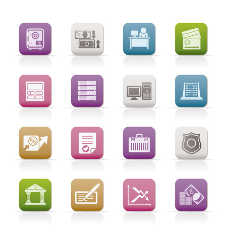 bank, business, finance and office icons - icon set Vector