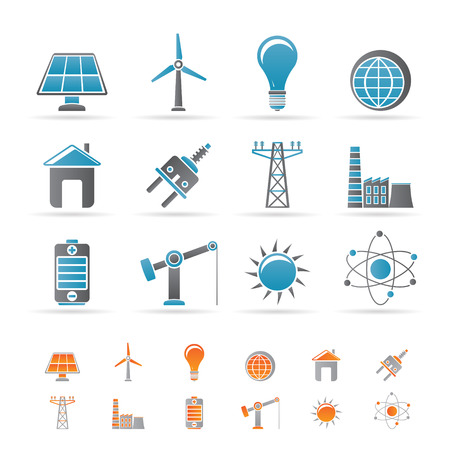 electricity icon: power, energy and electricity icons - icon set Illustration