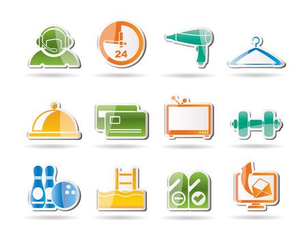 switchboard operator: hotel and motel amenity icons icon set