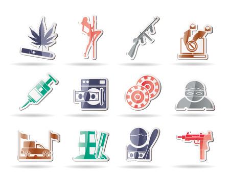 Mafia y los iconos de actividades de delincuencia organizada - conjunto de iconos
