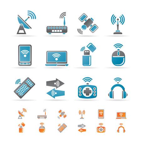 broadcasting: Iconos de tecnolog�a inal�mbrica y comunicaci�n - conjunto de iconos Vectores