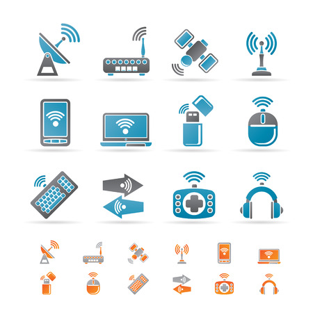 Wireless and communication technology icons - icon set Stock Vector - 8556195