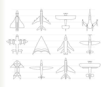 passanger: different types of plane icons - icon set Illustration
