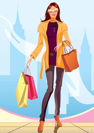 fashion shopping: chica de compras de moda con bolsa de compras en Nueva York - ilustraci�n Vectores