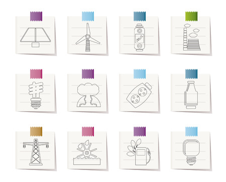 Power, energy and electricity icons Stock Vector - 8600290