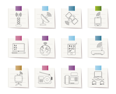 repeater: communication and technology icons Illustration