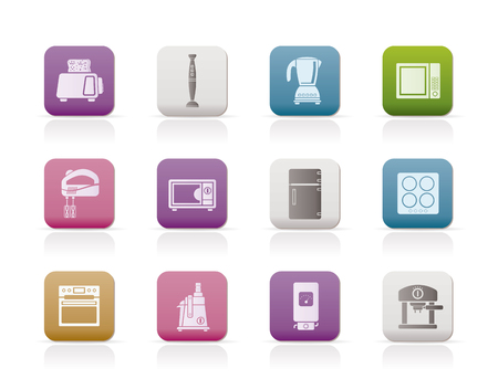 icebox: Kitchen and home equipment icons Illustration