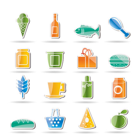 tinned: Shop and Foods Icons Illustration