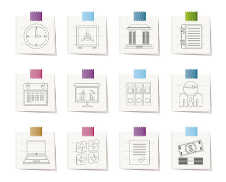 Business, finance and office icons Stock Vector - 8600292
