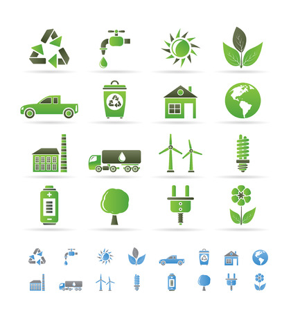 fuel tanker: ecology and environment icons - vector icon set