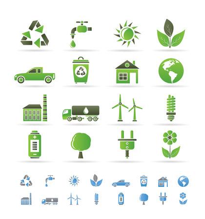 Ekologia i Å›rodowisko ikony - zestaw ikon wektora