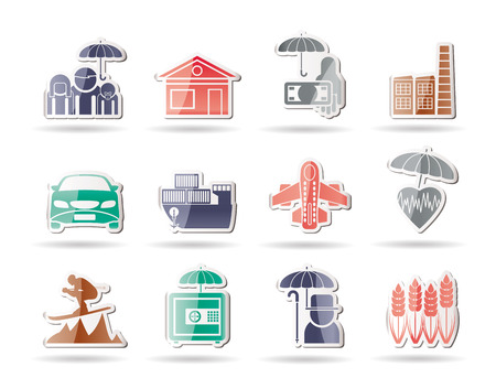 risks button: different kind of insurance and risk icons - vector icon set Illustration
