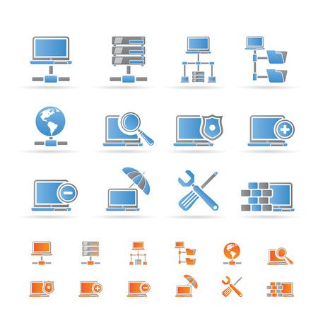 ajouter: Icônes de réseau, serveur et hébergement - vecteur icône ensemble