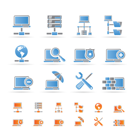 communication tools: Network, Server and Hosting icons - vector icon set