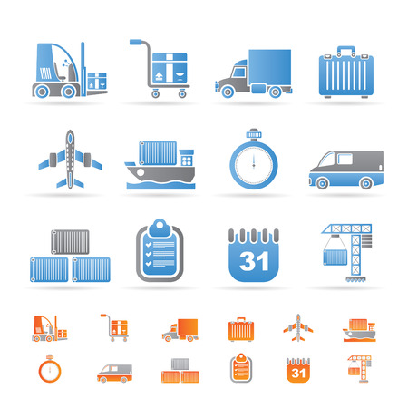 shipping by air: logistics, shipping and transportation icons - vector icon set