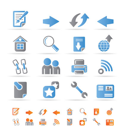 printer: Website navigation and computer icons - vector icon set