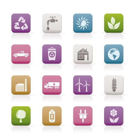 ecology and environment icons - vector icon set Stock Vector - 8670325
