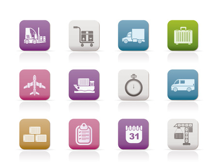 cargo vessel: logistics, shipping and transportation icons - vector icon set