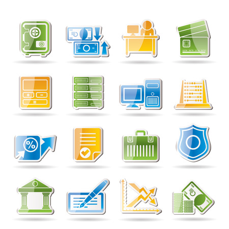 bank, business, finance and office icons - vector icon set Stock Vector - 8670340