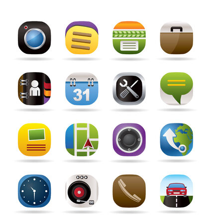 Mobile phone and computer icons - vector icon set Vector