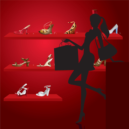 mall shopping: beautiful woman in shoe shop Illustration