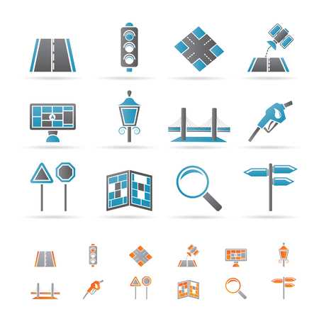 Road, navigation and travel icons Stock Vector - 8738707