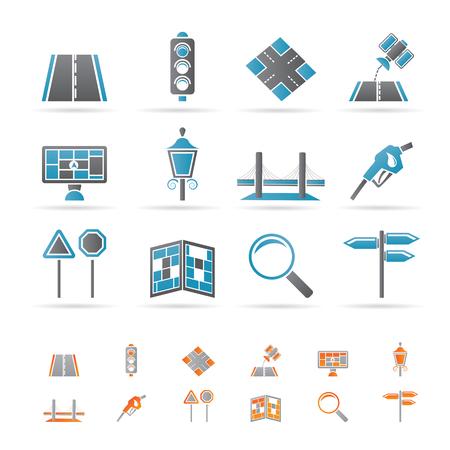 web design bridge: Road, navigation and travel icons