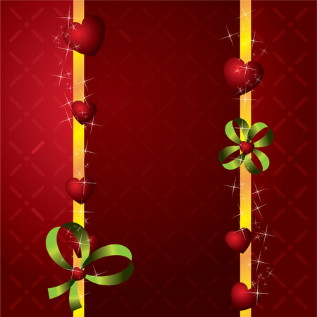 red hearts Valentines Day Background with stars and green bow Vector