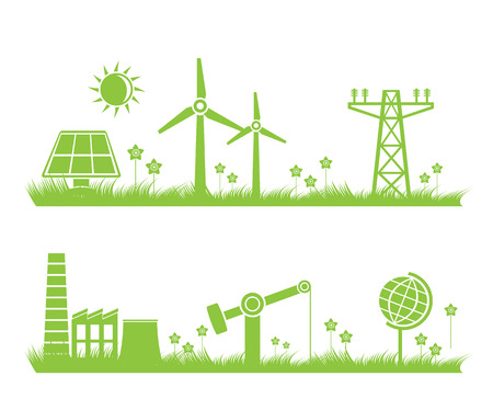energy save: abstract ecology, industry and nature background