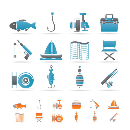 Fishing and holiday icons Stock Vector - 8738711