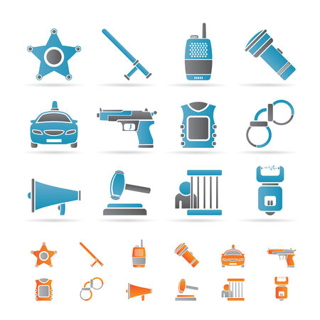 law, order, police and crime icons Stock Vector - 8738710