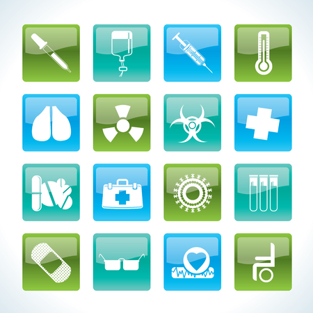 collection of medical themed icons and warning-signs Stock Vector - 8738719