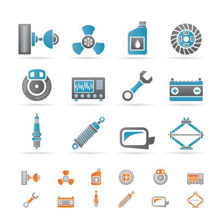 baterii: Realistyczne ikony części samochodowe i usług