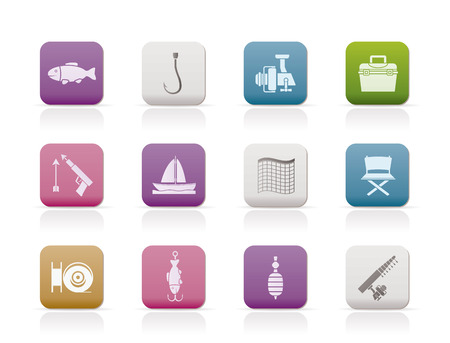 fisheries: Fishing and holiday icons