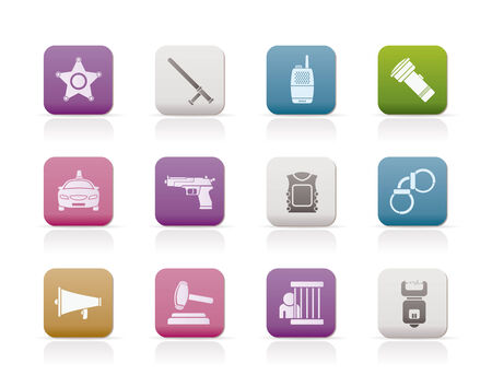 law, order, police and crime icons Stock Vector - 8738727