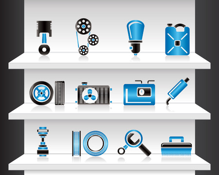 Shelf with Car Parts Vector