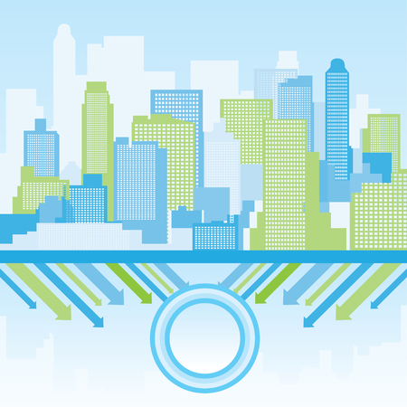 green and blue city background Vector