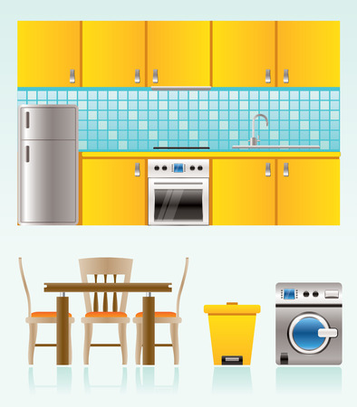 wash painting: kitchen objects, furniture and equipment Illustration