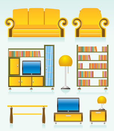 living room objects, furniture and equipment Vector